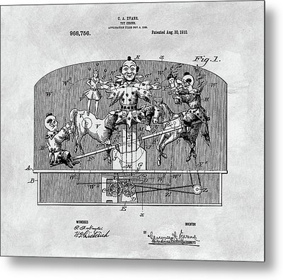 Vintage Circus Toy Patent Metal Print by Dan Sproul