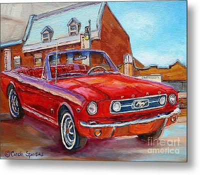 Vintage Classic Cars Paintings Red Mustang At The Diner Montreal Canadian Art Carole Spandau         Metal Print by Carole Spandau