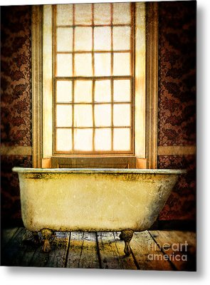 Vintage Clawfoot Bathtub By Window Metal Print by Jill Battaglia