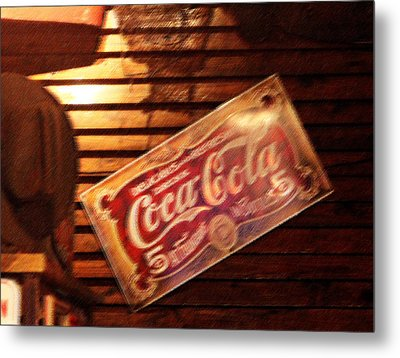 Vintage Coca Cola Sign Metal Print by Linda Phelps