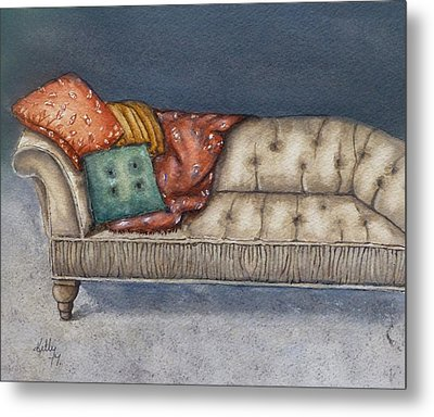 Metal Print featuring the painting Vintage Comfy Couch by Kelly Mills