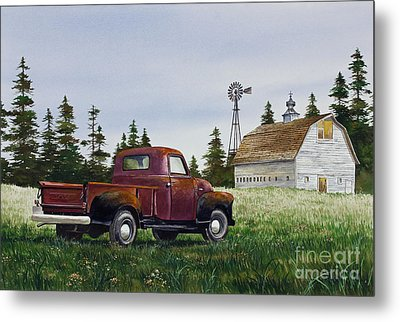 Metal Print featuring the painting Vintage Country Pickup by James Williamson