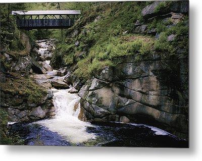 Vintage Covered Bridge And Waterfall Metal Print