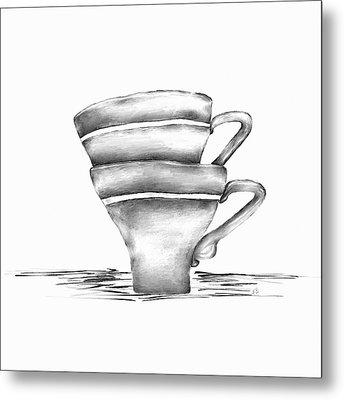 Vintage Cups Metal Print by Brenda Bryant