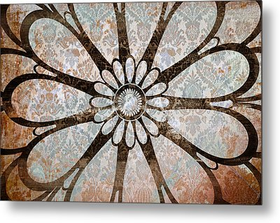 Vintage Damask Floral Abstract Metal Print by Frank Tschakert