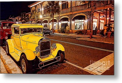 Vintage Dreams And City Lights Metal Print by Mary Lou Chmura