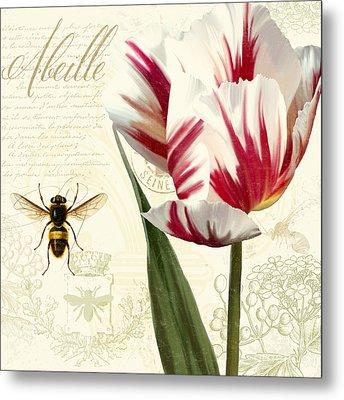 Vintage Elements Botanical Study, Tulip Bumble Bee Metal Print by Tina Lavoie