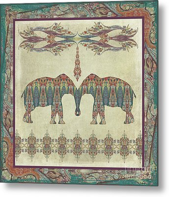 Metal Print featuring the painting Vintage Elephants Kashmir Paisley Shawl Pattern Artwork by Audrey Jeanne Roberts