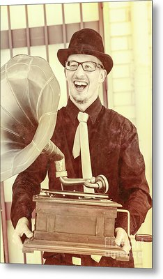 Vintage Entertainment Man Playing Golden Oldies Metal Print by Jorgo Photography - Wall Art Gallery