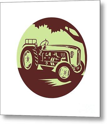 Vintage Farm Tractor Circle Woodcut Metal Print