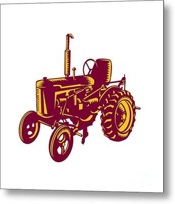 Vintage Farm Tractor Woodcut Metal Print by Aloysius Patrimonio