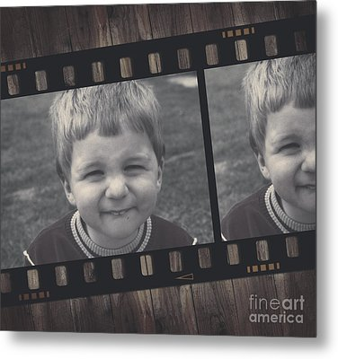 Vintage Filmstrip Boy Smiling For The Camera Metal Print by Jorgo Photography - Wall Art Gallery