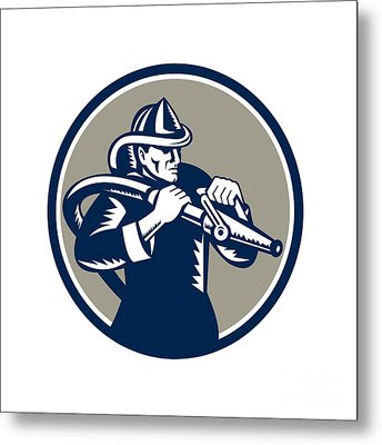 Vintage Fireman Firefighter Aiming Hose Circle Woodcut Metal Print