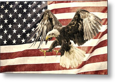 Metal Print featuring the photograph Vintage Flag With Eagle by Scott Carruthers
