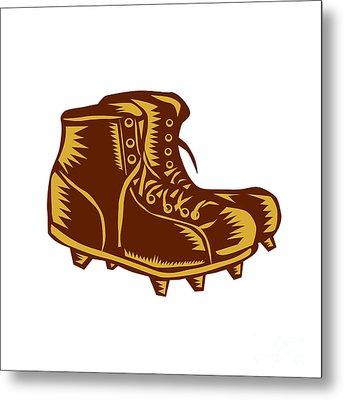 Vintage Football Boots Woodcut Metal Print