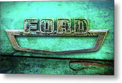 Metal Print featuring the photograph Vintage Ford Truck Logo  by Terry DeLuco