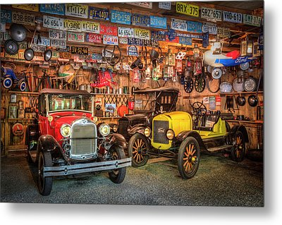 Metal Print featuring the photograph Vintage Fords Collectibles by Debra and Dave Vanderlaan