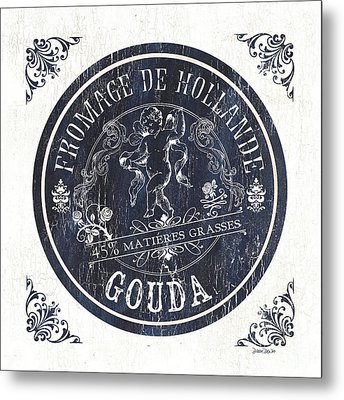 Vintage French Cheese Label 1 Metal Print by Debbie DeWitt