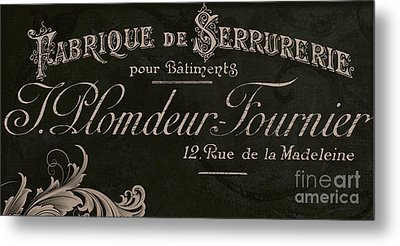 Vintage French Typography Sign Metal Print
