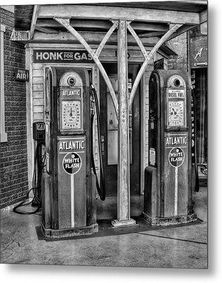 Vintage Gas Station Bw Metal Print