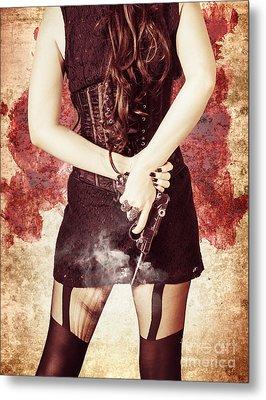 Vintage Girl Holding Smoking German Lugar Pistol Metal Print by Jorgo Photography - Wall Art Gallery