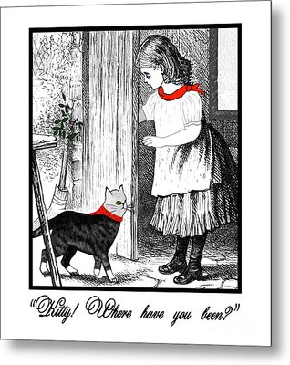 Vintage Girl Lets In Her Gray Cat Metal Print by Marian Cates