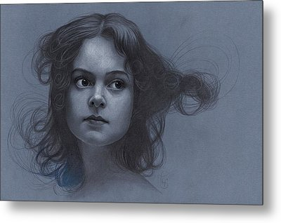 Vintage Girl - Pencil Drawing Metal Print