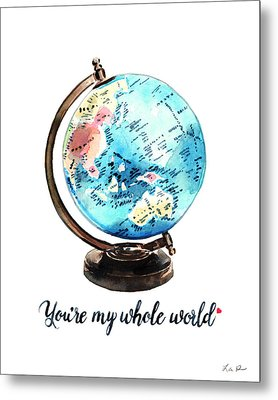 Vintage Globe Love You're My Whole World Metal Print by Laura Row