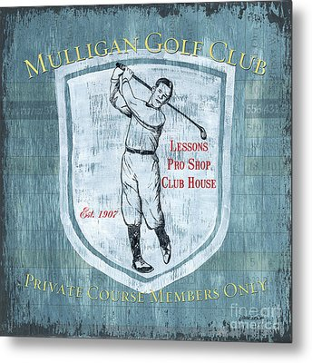 Vintage Golf Blue 1 Metal Print