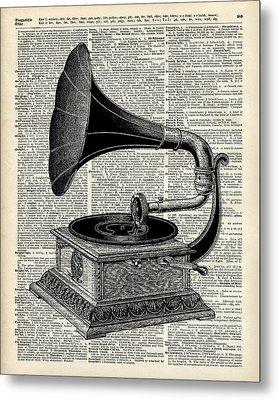Vintage Gramophone Metal Print by Jacob Kuch