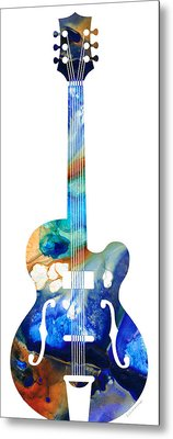 Vintage Guitar - Colorful Abstract Musical Instrument Metal Print by Sharon Cummings