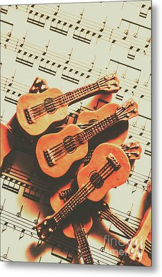 Vintage Guitars On Music Sheet Metal Print by Jorgo Photography - Wall Art Gallery