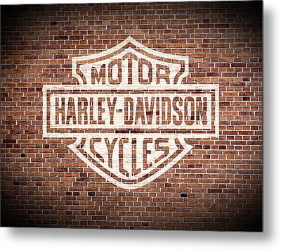 Vintage Harley Davidson Logo Painted On Old Brick Wall Metal Print by Design Turnpike
