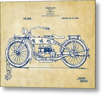 Vintage Harley-davidson Motorcycle 1919 Patent Artwork Metal Print by Nikki Smith