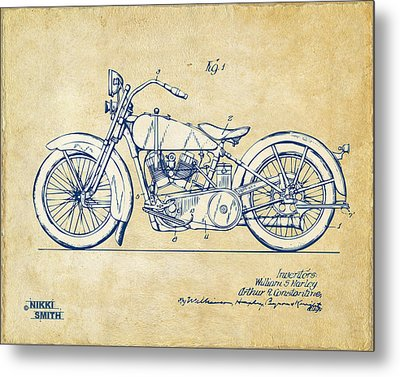 Vintage Harley-davidson Motorcycle 1928 Patent Artwork Metal Print by Nikki Smith