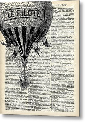 Vintage Hot Air Balloon Illustration,antique Dictionary Book Page Design Metal Print