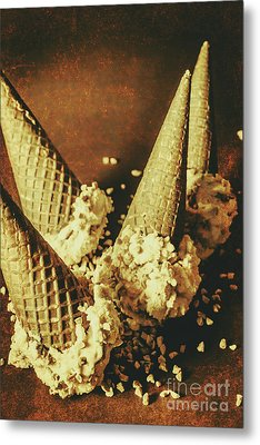 Vintage Ice Cream Cones Still Life Metal Print