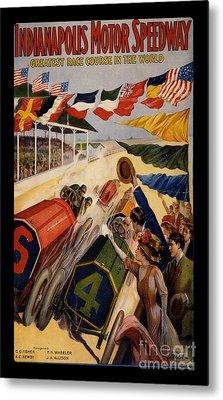 Vintage Indianapolis Motor Speedway Poster Metal Print
