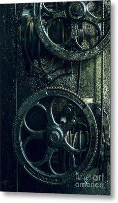 Vintage Industrial Wheels Metal Print