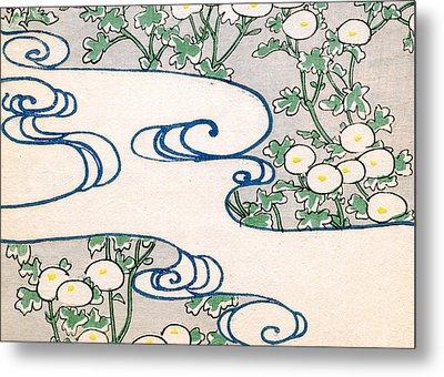 Vintage Japanese Illustration Of Blooming Vines And Wave Pattern Metal Print by Japanese School