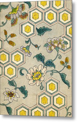 Vintage Japanese Illustration Of Blossoms On A Honeycomb Background Metal Print