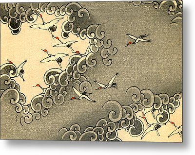 Vintage Japanese Illustration Of Cranes Flying In Grey Clouds  Metal Print by Japanese School