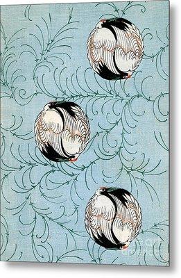 Vintage Japanese Illustration Of Curled Cranes Metal Print by Japanese School