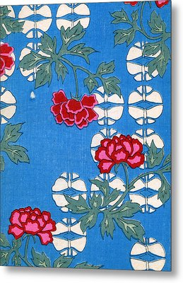 Vintage Japanese Illustration Of Hanging Lanterns And Peony Blossoms Metal Print by Japanese School