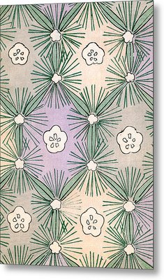 Vintage Japanese Illustration Of Pine Needles And Blossoms Metal Print