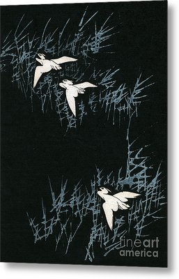 Vintage Japanese Illustration Of Three Cranes Flying In A Night Landscape Metal Print