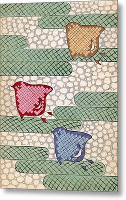 Vintage Japanese Illustration Of Three Stylized Birds Flying Metal Print by Japanese School