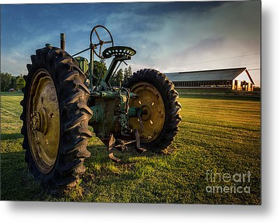 Vintage John Deere At Sunset Metal Print