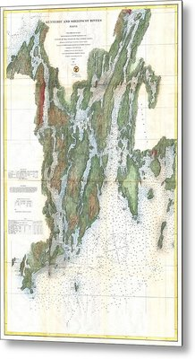 Vintage Kennebec And Sheepscot River Map - 1862 Metal Print by CartographyAssociates