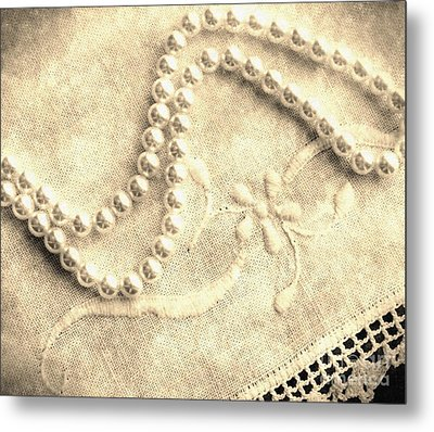 Vintage Lace And Pearls Metal Print by Barbara Griffin